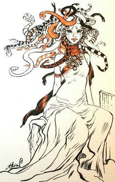 Another Medusa depiction. Medusa Art, Medusa Tattoo, Art Et Illustration, Illustrations, Fantasy Creatures, Mythical Creatures, Raabe Tattoo, Character Art, Character Design