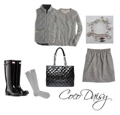 """""""Today"""" by cocodaisy ❤ liked on Polyvore featuring J.Crew, Hunter and Chanel"""