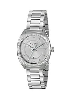 """Gucci Women's Swiss Quartz Stainless Steel Dress Watch, Color:Silver-Toned (Model: YA142505) Gucci Timepieces is pleased to introduce a newly designed collection: the GG2570, named in homage to Gucci Creative Director Alessandro Michele's lucky number, '25' and Gucci's hallmark decade, the 1970s. This new line introduces a new shape of case, with its rounded """"cushion"""" case.(affiliate link)"""