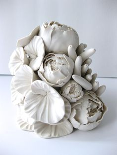 Flower Assemblage Sculpture from dillypad.com #dillypad #flowersculpture #claysculpture #tranquilhomedecor #whitedecor #claytile #allwhite #indepenentartist #angelaschwer #homedecor