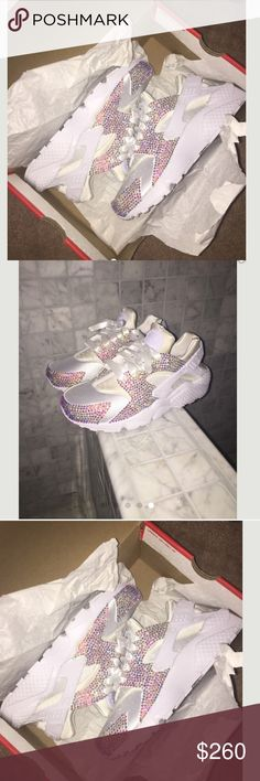 CUSTOM BLING NIKE HUARACHES CAN BE MADE IN ANY SIZE OR COLOR JUST COMMENT BEFORE YOU ORDER. PERFECT CHRISTMAS GIFT. WILL GO LOWER ON MERC Nike Shoes Sneakers