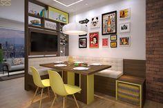 Área de jantar da Nova Soluções em imagem 3D produzida pelo Studio 25