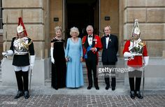 Prince Charles, Prince of Wales and Camilla, Duchess Of Cornwall are greeted by The Duke and Duchess of Wellington ahead of The Duke of Wellington's Waterloo banquet at Apsley House on June 18, 2015 in London, England.