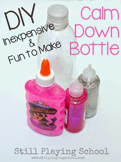 DIY Inexpensive Glitter Calm Down Bottle from Still Playing School  Read recipes for a $1 and $3 version using items you already have on hand at home!