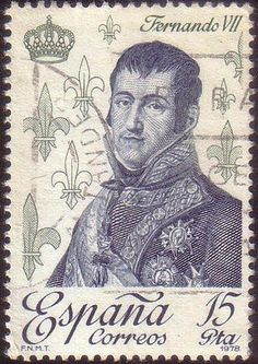 Fleur de Lis symbol, on a stamp from Spain, c.1978. Illustrated with an image of Fernando V11, who was king of Spain twice, once in c.1808 and again in c.1813. ~ {cwl} ~