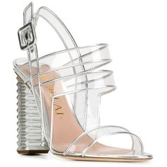 Aperlai clear strappy sandals ($719) ❤ liked on Polyvore featuring shoes, sandals, grey sandals, genuine leather shoes, real leather shoes, aperlai shoes and strap shoes