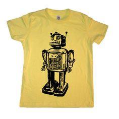 Kids Vintage Robot  Boy T Shirt - Lemon - American Apparel Childrens Tshirt - Sizes 2 4 6 8 10 and 12 (12 Color Options). $17.00, via Etsy.
