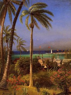 Learn more about Bahamian View Albert Bierstadt - oil artwork, painted by one of the most celebrated masters in the history of art. Oil Painting For Sale, Online Painting, Paintings For Sale, Painting Art, Painting Videos, Oil Paintings, Jamaica, Puerto Rico, Albert Bierstadt Paintings
