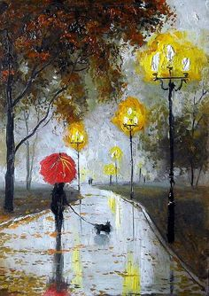 "Bolotov Alexander - Artist - The work ""The Lady with the Dog"" Art And Illustration, Rain Art, Umbrella Art, Arte Pop, Rainy Days, Watercolor Art, Art Projects, Art Drawings, Art Photography"