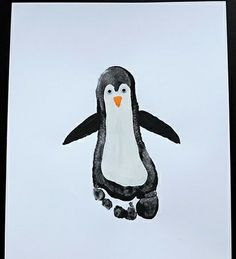 Penguin Footprint Art by little-inspirations.blogspot.com: It must be very ticklish to paint those small feet! Thanks to Nora and her mom! #Footprint #Penguin #Kids