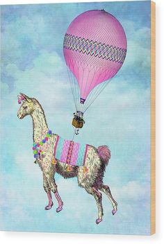 Llama Wood Print fea