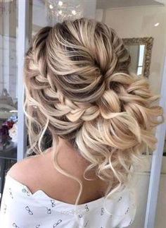 Braided prom hair updos may be considered in case you opt for a more classic sty., Braided prom hair updos may be considered in case you opt for a more classic style that reflects tender beauty. So, read on to learn what's in trend. Prom Hairstyles For Long Hair, Braids For Short Hair, Wedding Hairstyles For Long Hair, Wedding Hair And Makeup, Cool Hairstyles, Hairstyle Ideas, Hairstyle Wedding, Fringe Hairstyles, Updo Hairstyles For Prom
