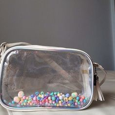 White Leather Clear Cross Body Bag with Colorful Pastel Bead