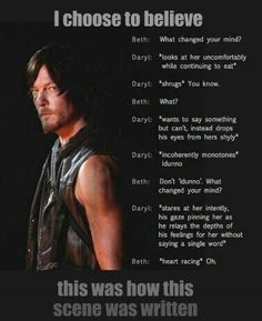 """Ugh Daryl just liked Beth as a sister"" You don't look at your sister THAT way."