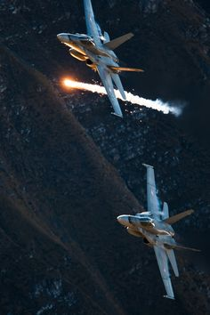 F-18 Swiss fighter jets, flares away