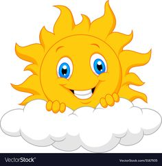 Happy sun behind the cloud vector image on VectorStock Art Drawings For Kids, Drawing For Kids, Bisous Gif, Sun Painting, Cloud Vector, School Painting, Happy Sun, School Decorations, Classroom Decor