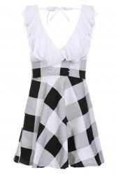 Checked Preppy Style V-Neck Lace-Up Selvedge Design Dress For Women - WHITE ONE SIZE