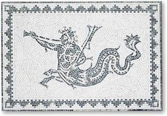 Mosaic of an Hippocampus. 55x80cm - Manufacture of Roman mosaics