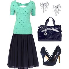 Navy n Mint by mercyray97 on Polyvore