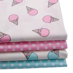 50*147cm patchwork printed cotton fabric for Tissue Kids Bedding textile for Sewing tilda goll, ice cream,48406