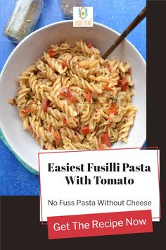 Easy fusilli pasta with tomato is a quick recipe. This pasta is without cheese has simple easily available at home ingredients. This is a kid's favorite recipe. You can pack it in the kid's lunch box to school. Easy fusilli pasta recipes can be made with vegetables or meat or sausage or shrimp. This no fuss tomato garlic pasta without cheese This pasta can be made for picky eaters for lunch or dinner. You can serve this vegan pasta for party too like Halloween, Thankgiving or Christmas… Fusilli Pasta Recipe, Garlic Pasta, Quick Recipes, Pasta Recipes, Vegan Recipes, Vegan Pasta, Food Now, Picky Eaters, Shrimp