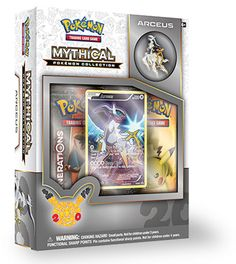 20th Anniversary Range Pokemon TCG Mythical Pokemon Collection Arceus Pin Box Includes: – A never-before-seen foil promo card featuring Arceus – A Arceus collector's pin – 2 special Pokemon TCG: Generations booster packs to expand your collection! – A code card for the Pokemon Trading Game Online