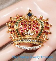 Vintage KJL Kenneth Jay Lane Multi Color Crystal Crown Pin #KJL