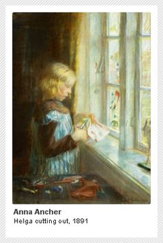 Anna Ancher (1859-1935): Helga cutting out paper, 1891