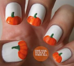 Pumpkins on White Nails by One Nail to Rule Them All. @Peggy Campbell Gress  these are your type of nails!