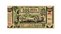 This year's Indianapolis 500 ticket has been promised to be awesome, but back in 1940, the people who were designing the tickets still did an amazing job.Check out this ticket stub from the 28th ...