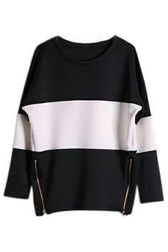 #ROMWE   ROMWE Zippered Black and White Sweatshirt, The Latest Street Fashion