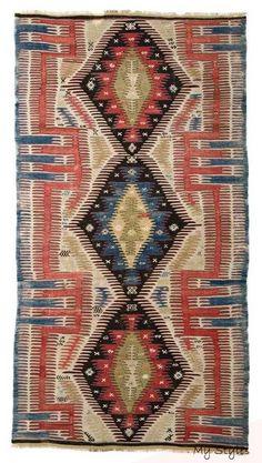 Afyon old kilim circa 1870 Textiles, Floral Rug, Tribal Rug, Woven Rug, Floor Rugs, Rugs On Carpet, Hall Carpet, Kilim Rugs, Vintage Rugs