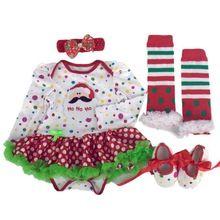 SIF 2016 Newborn Christmas Infant Baby Girl Romper Tutu Dress Sets 4Pcs Outfits Clothes AGU 29(China (Mainland))