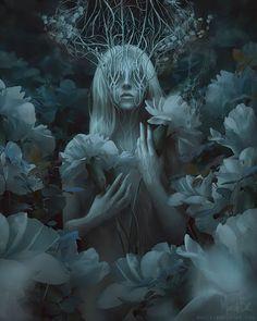 The dark and beautiful fantasy themed photo illustrations of Marcela Bolívar, a digital artist and illustrator based in Columbia. Art Noir, Album Design, Art Graphique, Fantasy Artwork, Digital Art Fantasy, Dark Fantasy, Dark Art, Art Inspo, Amazing Art