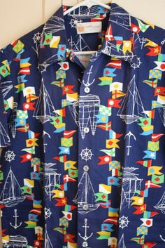 Nautical Vtg. Sail Boats and World Flags Traveling Button Up Shirt Men's Size L #Atkinsons #ButtonFront