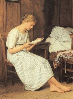 """""""Lesendes Mädchen (Girl Reading)"""", 1884 / Albert Anker (1831-1910)"""