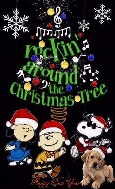 Rockin' Around The Christmas Tree Peanuts Christmas Merry Christmas Gif, Christmas Scenery, Snoopy Christmas, Charlie Brown Christmas, Merry Christmas And Happy New Year, Christmas Music, Christmas Wishes, Christmas Cards, Vintage Christmas