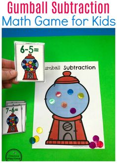 Gumball Subtraction Math Activity for Kids.