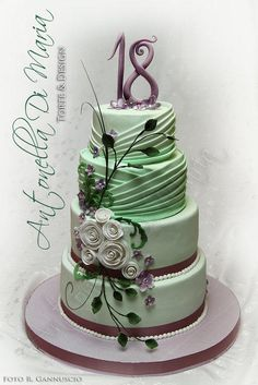 Mint drapes and purple flower design - Cake by Antonella Di Maria