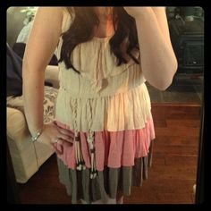 Country girl/chic tiered dress Nwot This dress is so adorable on so many levels ;). Super cute color transition, faux leather straps and a cute rope belt. (I'm only reposhing bc it's a little to short for me). Boutique brand- Chesley size large (but can fit a medium too) Boutique Dresses