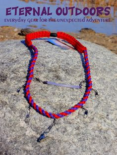 Paracord Fly Fishing Lanyard Red and Purple with a Twist Round Pattern