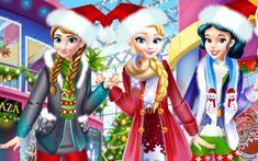 Em Princesas Compras de Natal, o Natal está chegando e as princesas Elsa, Anna e Branca de Neve estão muito ansiosas para que as festas cheguem logo. E como elas são muito amigas, resolveram ir fazer as compras de Natal juntas. Mas, além disso, elas resolveram ir fazer suas compras de Natal vestidas com roupas típicas natalinas.