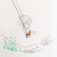 Last day of the - illustrations - Bilder Doodle Drawings, Easy Drawings, Doodle Art, Art And Illustration, Graphite Illustrations, Little Girl Illustrations, Doodles, Cute Art, Art Sketches