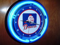 Atlanta Milwaukee Braves Baseball Stadium Gameroom Neon Advertising Man Cave Wall Clock Sign on Etsy, $59.99