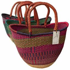 Yikene Totes from northern Ghana.  They are fair trade, handmade, beautifully woven and quite practical.   $49.99