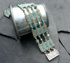 turquoise beaded bangle bracelet with seed beads