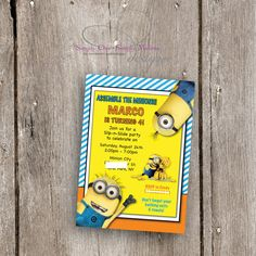Minions Birthday Invitation Custom