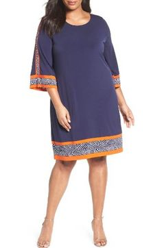 Free shipping and returns on MICHAEL Michael Kors Border Print A-Line Dress (Plus Size) at Nordstrom.com. Spotted panels with an outline of vibrant orange brings fresh sophistication to a matte-jersey dress as they accentuate the slimming silhouette.