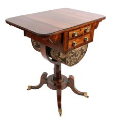 Antique Regency rosewood drop leaf lady's work or sewing table. This early century antique work table is available to buy online now. Furniture Removal, Cool Furniture, English Antique Furniture, Cheap Furniture Online, Regency Furniture, Antique Vanity, Antique Chandelier, Vintage Table, Antique Tables
