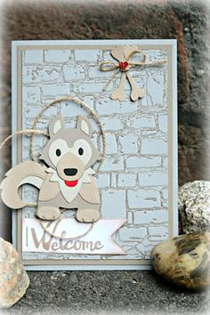 by Keksie: Willkommen!, Karte, Marianne Design, Husky, Hund, Backsteinmauer, Prägefolder Marianne Design, Animal Cards, Punch Art, Diy Cards, Advent Calendar, Giraffe, Panda, Stampin Up, Kittens
